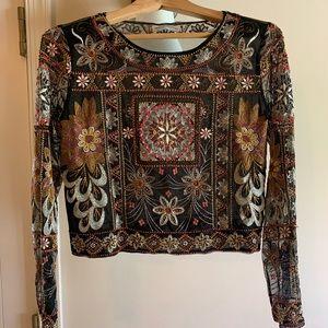 Embroidered/Beaded Crop Mesh Zara Top Sz M
